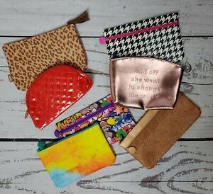 Ipsy Bag Lot Of 7 Piece Makeup Travel Zip Case Red Leopard Muti Piece Set
