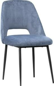 MAGGIE DINING CHAIR DUST BLUE BLACK POLYESTER UPHOLSTERY STEEL POLY