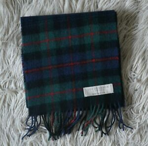 Authentic LOCHCARRON Green Blue Checked Wool Scarf Made in Scotland