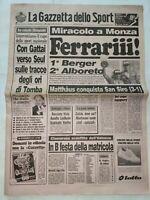 GAZZETTA DELLO SPORT 12-9-1988 FORMULA 1 FERRARI GP D'ITALIA MONZA VINCE BERGER