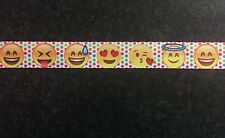 "1m Emoji Dots Smilies Emoticons Character Printed Grosgrain Ribbon, 22mm 7/8"""