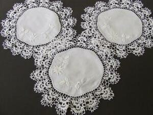 Three Gorgeous White Vintage Hand Embroidered Doilies - Deep Crocheted Edges