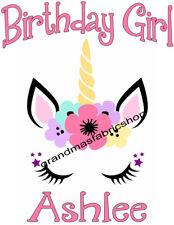 NEW Custom Personalized Unicorn t shirt Birthday party gift Add Name