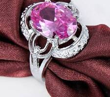 BEAUTIFUL PINK ZIRCON RING .925 STERLING SILVER RING Size 8  #R336