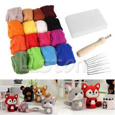 HOT Wool Felt + Needles Felt Tool Set Needle Felting Mat Starter Kit 16 Colors