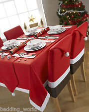 SANTA TABLE CLOTHS RED WHITE FLEECE FELT CHAIR HATS PARTY / CHRISTMAS OCCASIONS
