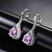 HUCHE Lovely Pear Pink Diamond Gemstone Silver Lady Girls Party Daily Earrings