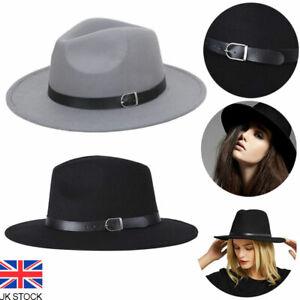 Vintage Women Men Large Felt Trilby Fedora Jazz Wide Brim Hat Cap Gangster UK