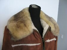 Excellent Suede Leather Sheep Lamb Wool Real Fur Collar Jacket Coat * Best Price