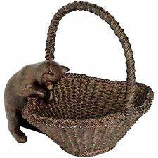Large bronze effect cat in basket figurine fab bowl ornament sculpture or gift