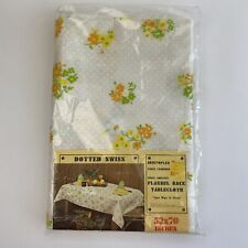 """Vintage Vinyl Flannel Back Round Tablecloth Rectangle Swiss Dot Yellow 52"""" X 70"""""""