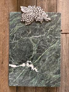 Arthur Court Aluminum Grape Leaves Marble Green/White Cheese Cutting Board