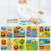 Wooden Baby Toddler Intelligence Development Animal Brick Puzzle Toy Classic C5X