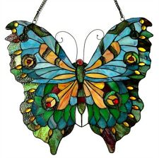 """Tiffany Style Butterfly Stained Glass Window Panel 21"""" x 20"""" LAST ONE THIS PRICE"""