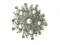 Vintage Silvertone Brooch Faux Pearl Crystal Snowflake Star Cluster Brooch
