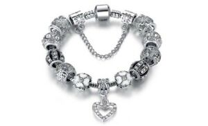18K Gold Plated Crystal Heart CZ Charm Bracelet Made with Swarovski Element