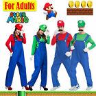 Mens Women Adult Super Mario Luigi Bros Plumber Cosplay Fancy Dress Xmas Costume