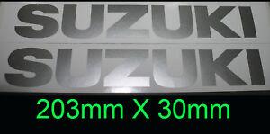 Suzuki Race Track Fairing sticker decal pair 203mm x 30mm Metallic Silver