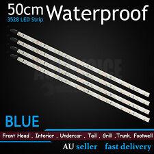 4pcs BLUE 50cm Flexible LED Strip Lights Waterproof Car Caravan Boat Camping DIY