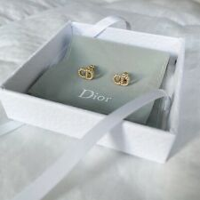 "Dior Clair D Lune ""CD"" Logo Gold-plated Metal White Crystal Earrings Jadior"