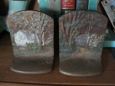 ANTIQUE COTTAGE IN WOODS BOOKENDS BRADLEY & HUBBARD Bronze Painted Cast Iron B&H