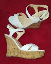GUESS Ladies Womens White Summer Shoes High Heel Wedge Platform Sandals New 7 M