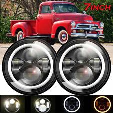 "2x 7""Inch Black Projector LED Headlights Hi/Lo Beam Fit Chevrolet C10 1977-1980"