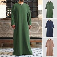 INCERUN Homme Musulman Arabe Thobe Longueur Thawb Kaftan Tunique Saoudienne Robe