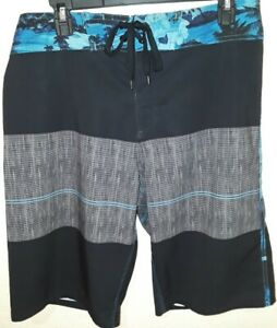Mens Swim Board Shorts Swimsuit Burnside Stretch Black and Blue Sz 32