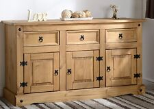 Corona Mexican 3 Door 3 Drawer Sideboard Distressed Waxed Pine Cabinet Wooden