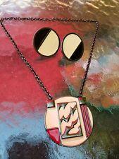 Exquisite Vintage Art Deco Monet Enamel & Gun Metal Pendant Necklace & Earrings