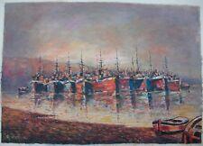 Greek Seascape Harbor Oil Painting Signed Athanasios Christou Greece