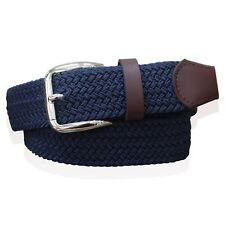 MENS WEBBING BELTS REAL LEATHER TRIM LADIES ELASTICATED WOVEN BRAIDED STRETCH