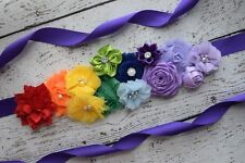 Flower Sash, rainbow Sash , flower Belt, maternity sash, wedding sash