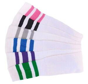 6 Pair Cotton Tube Socks SIZE 10-13 Long Striped Socks Big and Tall Full Cushion