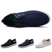 Men's Athletic Walking Sneakers Casual Lace Up Flat Shoes Low-Top Canvas Shoes