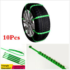 Green 10Pcs Car Tire Chain Emergency Winter Snow Anti-skid Chains Reusable Nylon