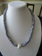 African Trading Beads Venetian Old Rare Necklace Blue White Brown