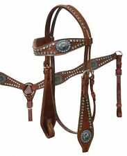Turquoise Bling! Western Saddle Horse Leather Tack Set Bridle + Breast Collar