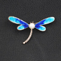 Betsey Johnson Cute Enamel Pearl Crystal Dragonfly Charm Brooch Pin Gift