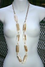 NEW Chico's Uttara Long Necklace Shimmering Translucent Golden Glow Seashell