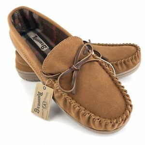 Roebuck Paxton Slippers Men's Size 11 Tan Suede Leather Rubber Sole Moccasins