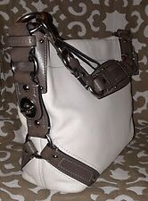 COACH CARLY 10615 Cream Ivory & Olive Gray Accents Leather Hobo Slouch Bag Purse