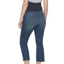 Aglow Maternity Capri Pants Cropped Denim Blue Jeans size 6 a:glow NEW $54 Tags