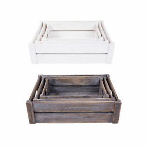 White/Brown Wooden Apple Crates Storage Box Display Tray Christmas Hampers