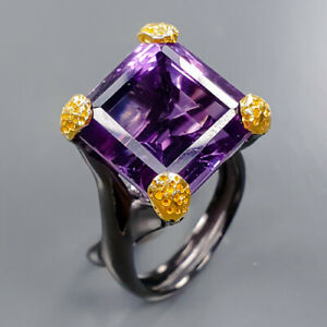 15 mm. IF AAA color Amethyst Ring Silver 925 Sterling  Size 8.5 /R177821
