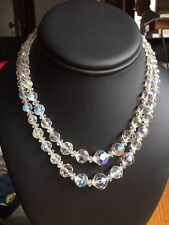 Vintage Brilliant Round Faceted AB Crystal Bead Necklace Double Strand