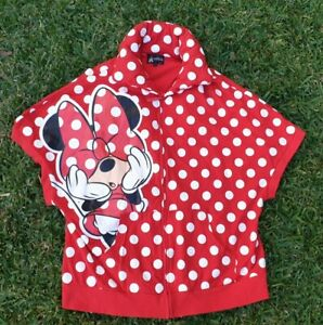 Disneyland Ladie's Sz XL Minnie Mouse Red White Vest Polka dot jacket fit 14 16
