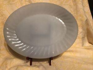 "Vintage Anchor Hocking Fire King Swirl Azurite 12"" Oval Platter"