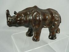 Rhinoceros Figurine Statue African Animal made from Leather Home Decor